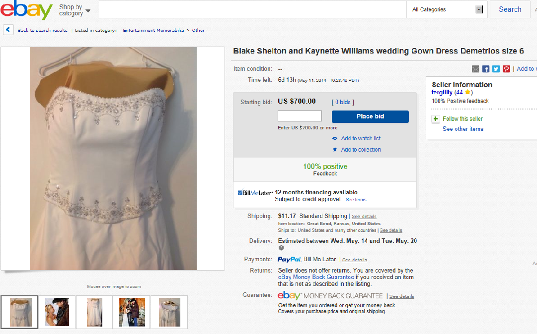 Blake Shelton's ex wife tried to sell her gown on ebay