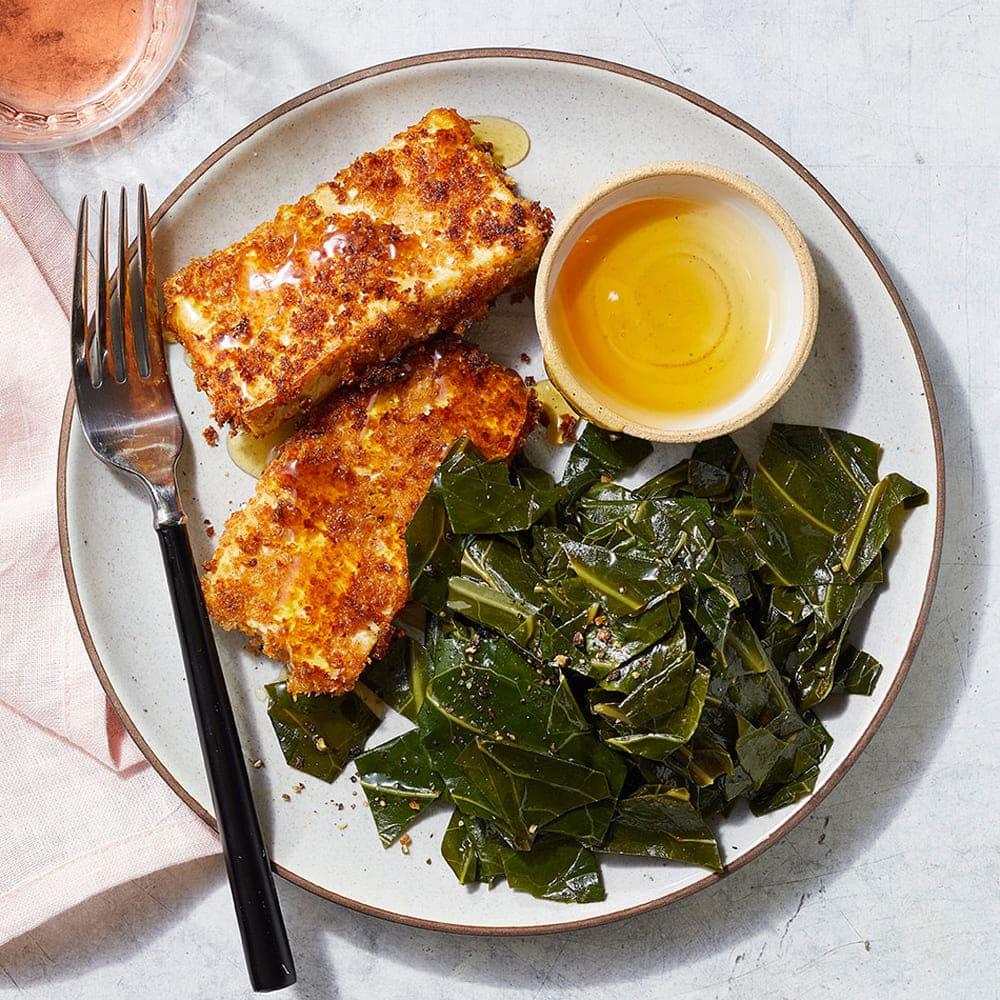 Buttermilk Fried Tofu with Smoky Collard Greens Recipe